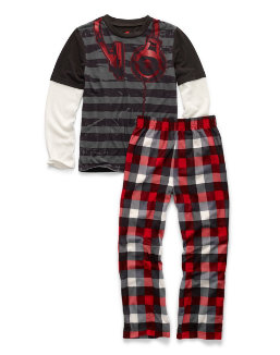 Hanes Boys' Sleepwear 2-Piece Set, Headphones Print youth Hanes