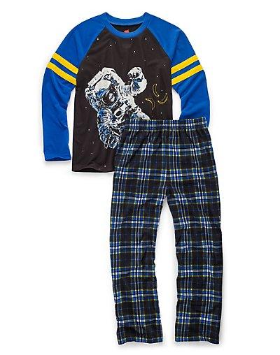 Hanes Boys' Sleepwear 2-Piece Set, Astronaut Print - 6019A