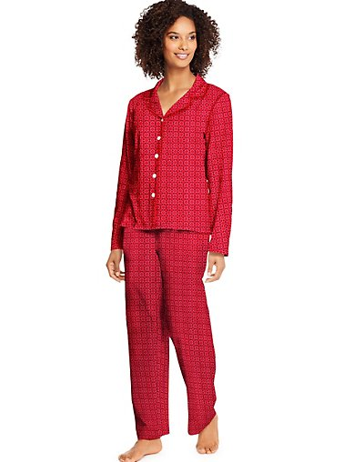 Hanes Women's Knit Notched Collar Top and Pants Sleep Set - HAC80116