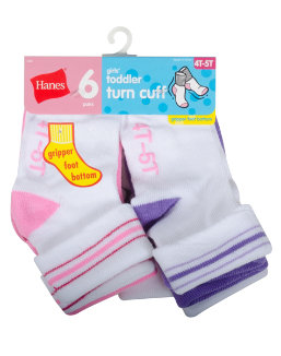 Hanes Infant/Toddler Girls' Turn Cuff Socks 6-Pack youth Hanes