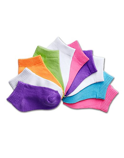 Hanes Girls' Toddler Low-Cut EZ Sort® Assorted 10-Pack - 38_10
