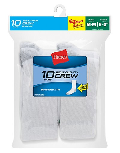 Hanes Boys' Red Label Cushion Crew - 10-Packs - 421_10