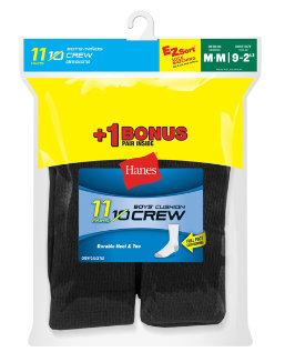 Hanes EZ-Sort® Boys' Crew Socks 11-Pack (Includes 1 Free Bonus Pair) youth Hanes
