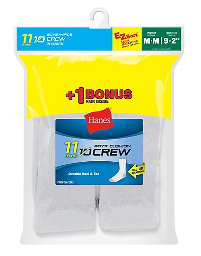 Hanes EZ-Sort® Boys' Crew Socks 11-Pack (Includes 1 Free Bonus Pair) - 421_11