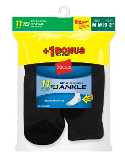 Hanes EZ-Sort® Boys' Ankle Socks 11-Pack (Includes 1 Free Bonus Pair) youth Hanes