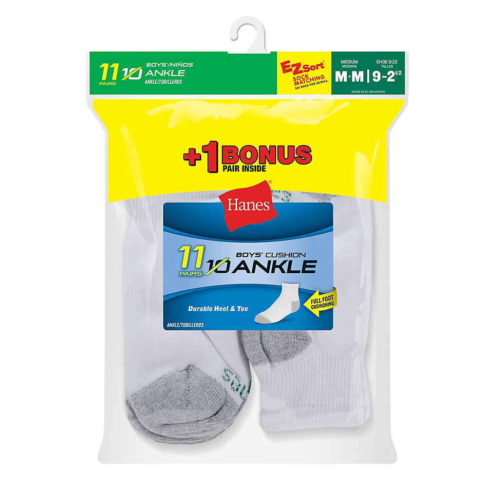 Hanes EZ-Sort® Boys' Ankle Socks 11-Pack (Includes 1 Free Bonus Pair) youth Hanes