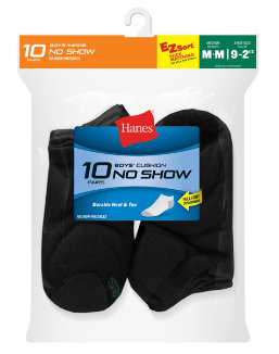 Hanes Boys' No-Show EZ Sort® Socks 10-Pack youth Hanes