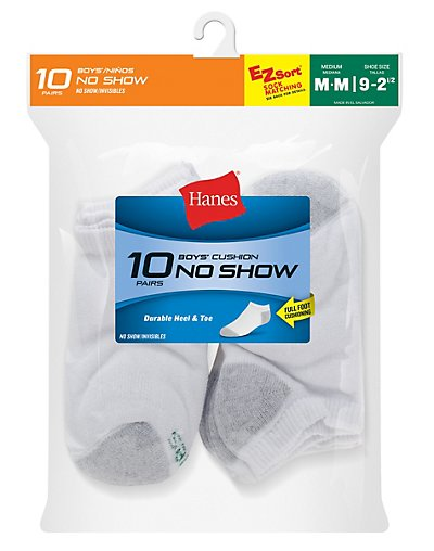Hanes Boys' No-Show EZ Sort® Socks 10-Pack - 424_10