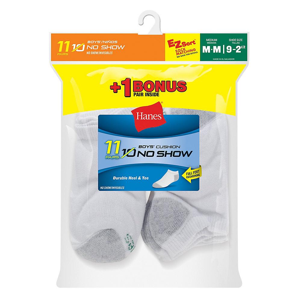 Hanes EZ-Sort® Boys' No-Show Socks 11-Pack (Includes 1 Free Bonus Pair) youth Hanes
