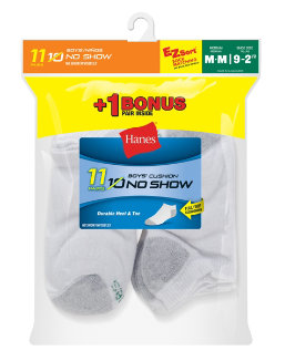 Hanes EZ-Sort® Boys' No-Show Socks 11-Pack (Includes 1 Free Bonus Pair) youth Hanes