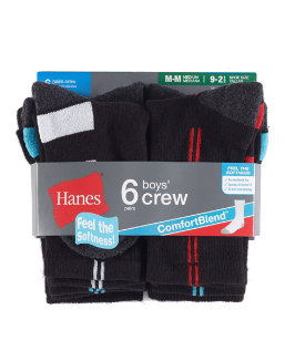 Hanes Boys' Crew ComfortBlend® Assorted Socks 6-Pack youth Hanes
