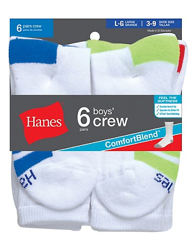 Hanes Boys Crew Comfortblend® White EZ Sort® Socks 6-Pack - 431_6_S