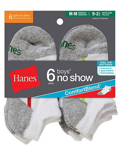 Hanes Boys No Show Comfortblend® White EZ Sort® Socks 6-Pack - 434_6