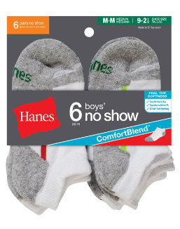 Hanes Boys' No-Show ComfortBlend® Assorted White Socks 6-Pack youth Hanes