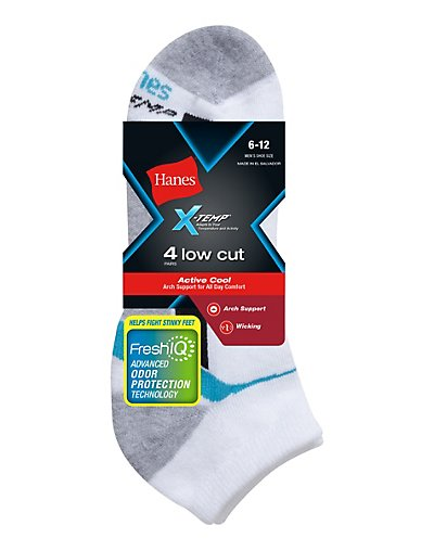 Hanes Men's X-Temp® Arch Support Low Cut Socks 4-Pack - 514_4