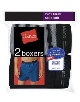 Hanes Men's Exposed Waistband Knit Boxer 2 Pack men Hanes