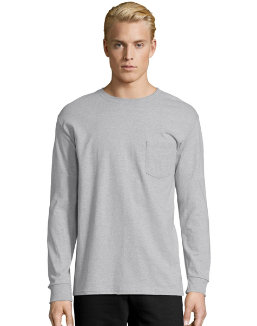 Hanes Men's TAGLESS® Long-Sleeve T-Shirt with Pocket men Hanes