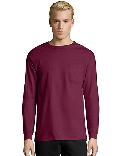 Hanes Men's TAGLESS® Long-Sleeve T-Shirt with Pocket