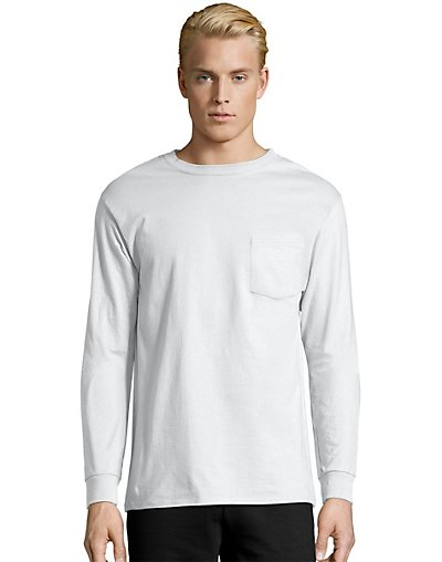 Hanes Men's TAGLESS® Long-Sleeve T-Shirt with Pocket - 5596