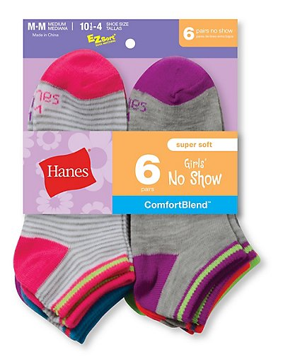 Hanes Girls' Fashion ComfortBlend® No Show Socks 6-Pack - 745_6