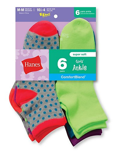 Hanes 747/6  Girls' Fashion ComfortBlend® Ankle Socks 6-Pack