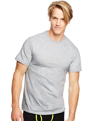 Hanes Classics Men's Traditional Fit ComfortSoft® TAGLESS® Black/Grey Crewneck Undershirt 3-Pack 7873BG