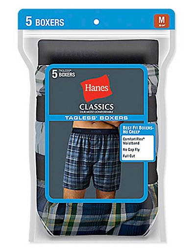 Hanes Classic Mens Yarn Dyed Exposed Waistband Boxer P5 - 798BP5
