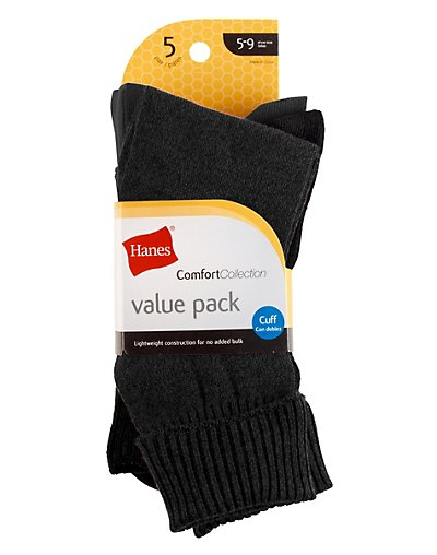 Hanes Women's Value Cuff Socks 5-Pack - 857_5