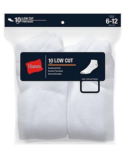 Hanes Classics Men's Low Cut Socks 10-Pack - 88_10