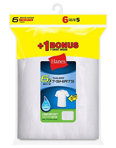 Hanes Boys' TAGLESS® Crewneck Undershirt 6-Pack (Includes 1 Free Bonus Undershirt) - B21386