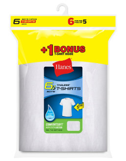 Hanes Boys' TAGLESS® Crewneck Undershirt 6-Pack (Includes 1 Free Bonus Undershirt) youth Hanes