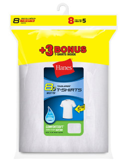 Hanes Boys' ComfortSoft® Crewneck Undershirt 8-Pack (Includes 3 free bonus undershirts) youth Hanes