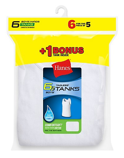 Hanes Boys' TAGLESS® ComfortSoft® A-Shirt 6-Pack (Includes 1 Free Bonus A-Shirt) - B372A6