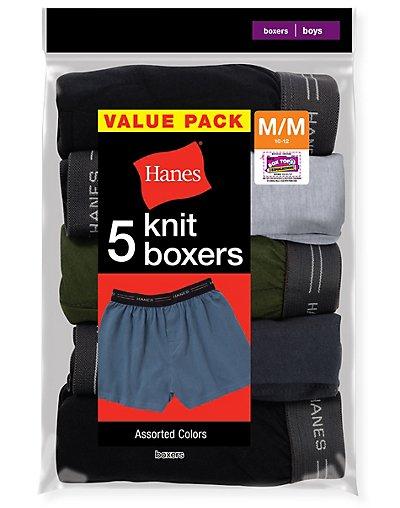 Hanes Boys' Exposed Elastic Knit Boxer - B539P5