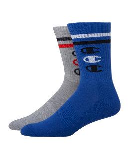 Champion Men's Performance Crew Socks, Vertical C Logo, 2-Pack men Champion