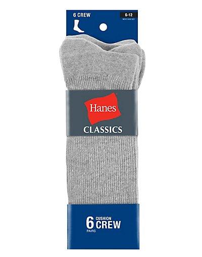 Hanes Classics Men's ComfortSoft® Crew Socks Grey 6-Pack - CL85