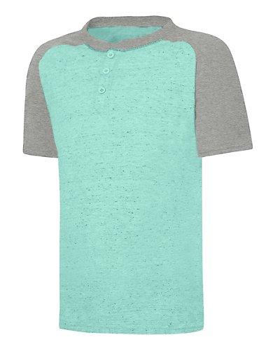 Hanes Boys' X-Temp Short Sleeve Colorblocked Snow Nep Henley - D175