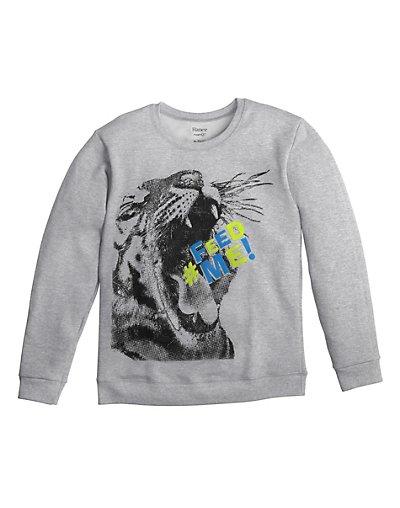 Hanes D199 Boy's Graphic Crew Sweatshirt w/ FreshIQ