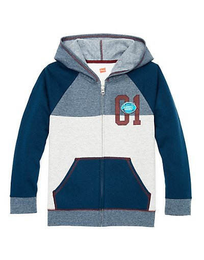 Hanes Boys' Graphic Fleece Colorblock Full Zip Hoodie - D266