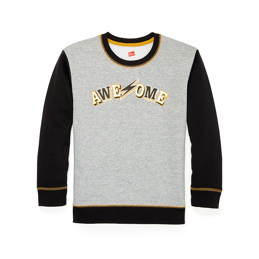 Hanes Boys' Graphic Fleece Colorblocked Sweatshirt