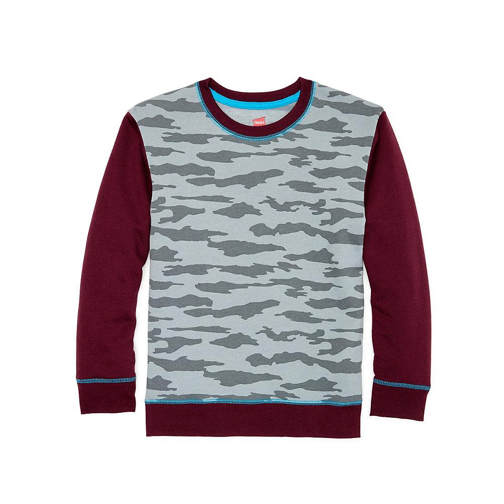 Hanes Boys' Camo Fleece Colorblock Sweatshirt