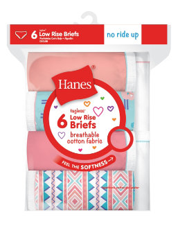 Hanes Girls' Breathable Cotton Low Briefs 6-Pack youth Hanes