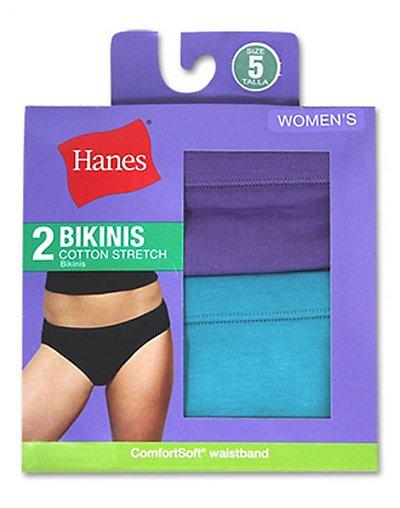 Hanes Women's Cotton Stretch Bikinis 2 Pack - D42EAS