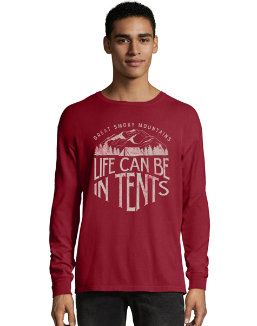 Hanes ComfortWash™ Life in Tents National Park Graphic Long Sleeve Tee men Hanes
