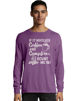 Hanes ComfortWash Coffee and Campfires National Park Graphic Long Sleeve Tee men Hanes