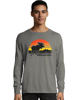 Hanes Men's ComfortWash™ Yellowstone Retro Moose National Park Long Sleeve Tee men Hanes