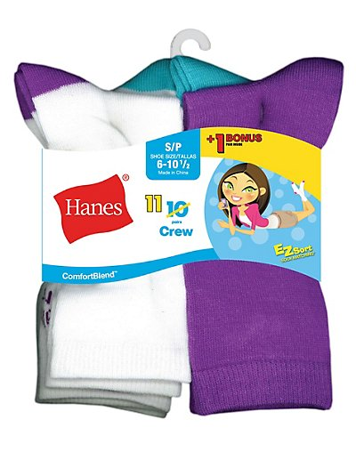 Hanes ComfortBlend® EZ-Sort® Girls' Crew Socks 11-Pack (Includes 1 Free Bonus Pair) - G41_11_S