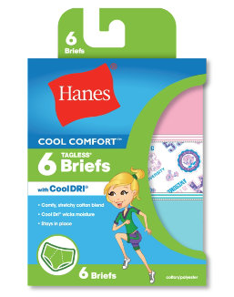 Hanes Girls' Cool Comfort Briefs with Cool Dri® 6-Pack youth Hanes