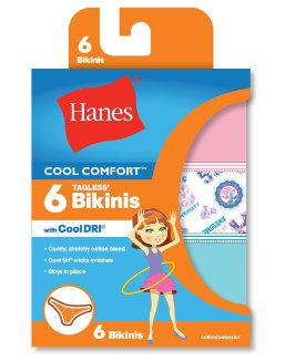 Hanes Girls' Cool Comfort Bikinis with Cool Dri® 6-Pack youth Hanes