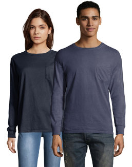 Hanes Men's ComfortWash™ Garment Dyed Long Sleeve Pocket Tee men Hanes